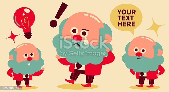 istock Senior man (businessman, manager, professor, scientist) with three expressions of talking, shock or sad, and getting a good idea 1307552341