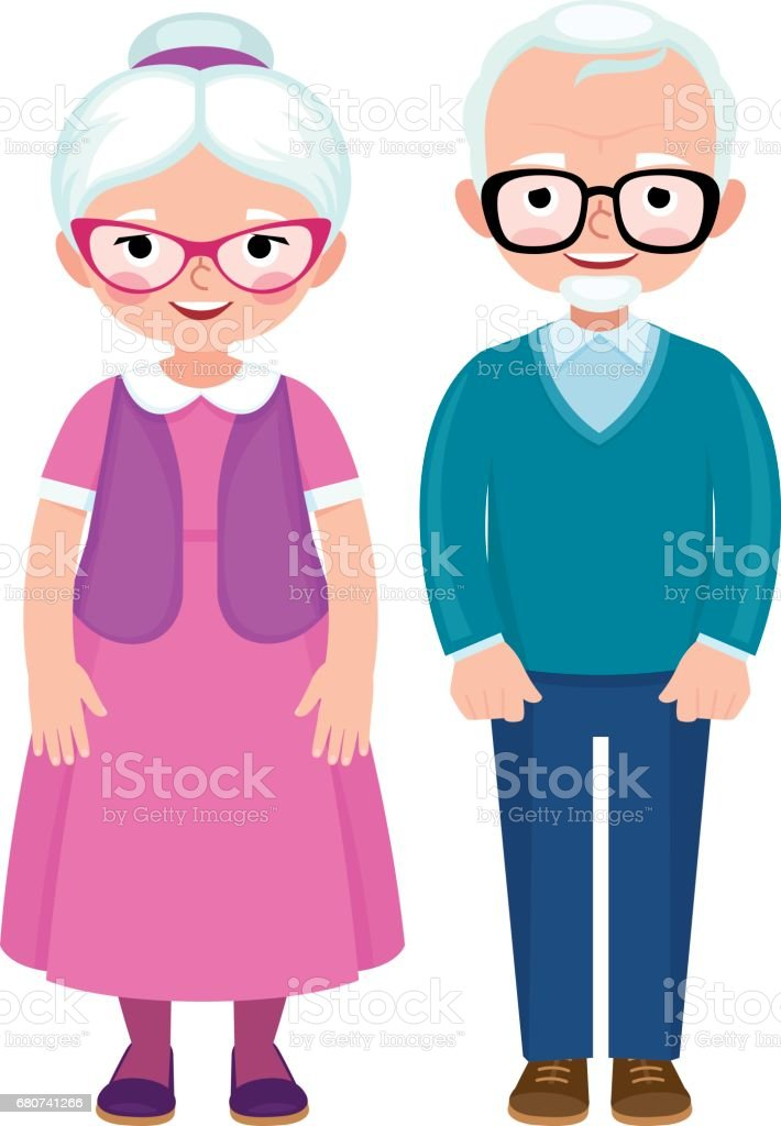 Senior married couple husband and wife in full length - ilustração de arte em vetor
