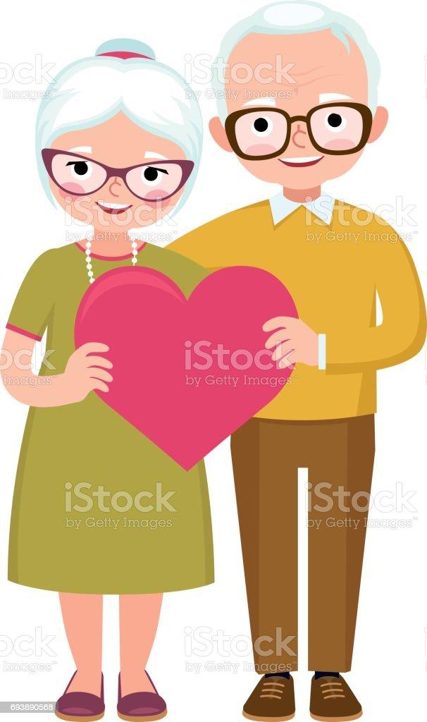 Senior pareja de amantes en longitud total mantenga el símbolo del corazón de amor - ilustración de arte vectorial