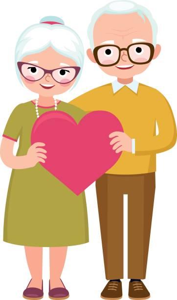 Leitende Ehepaar Liebhaber in voller Länge halten Sie das Symbol der Liebe Herz – Vektorgrafik