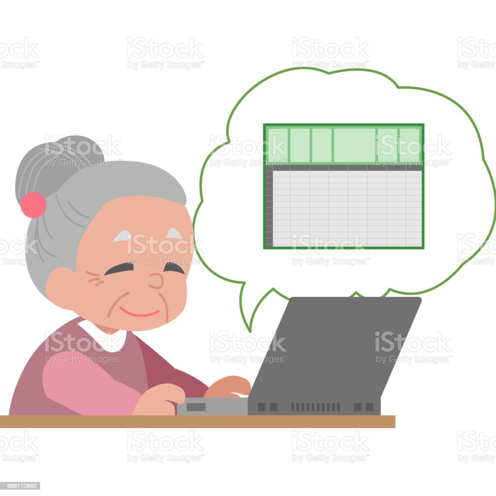 Senior master Excel-kalkylblad - Royaltyfri 50-59 år vektorgrafik