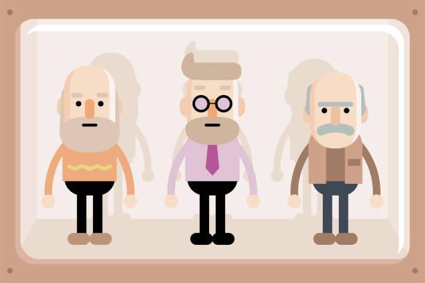 senior men in window box - old man puppet stock illustrations, clip art, cartoons, & icons