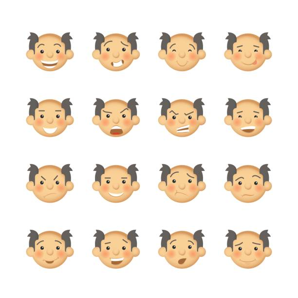 senior men with rosy cheeks. vector avatars and emoticons set. - old man crying stock illustrations, clip art, cartoons, & icons