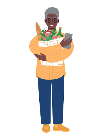 Senior modern african man with shopping bag and mobile phone.