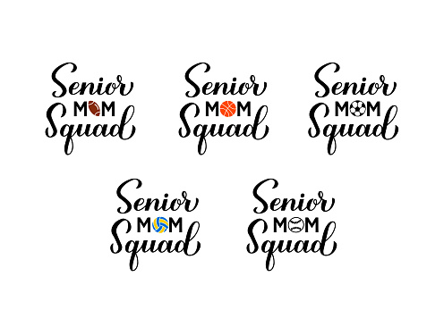 Senior mom squad hand lettering. Sports mom calligraphy bundle. Vector template for typography poster, banner, sticker, t-shirt, etc