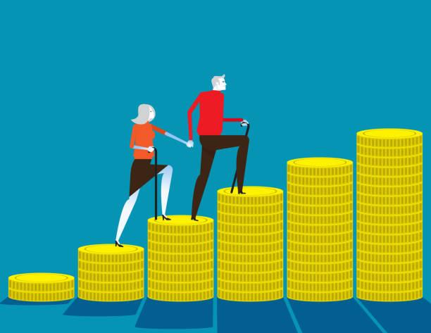 Senior money steps. Elder saving money concept, Flat cartoon vector design vector art illustration