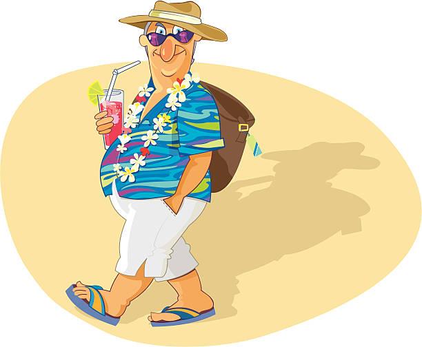 senior on the beach - old man sunglasses stock illustrations, clip art, cartoons, & icons