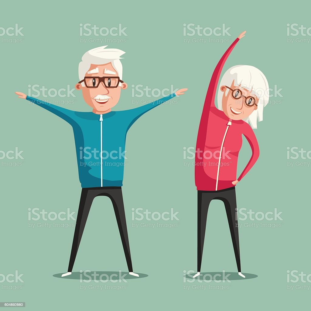 Senior people and gymnastics. Cartoon vector illustration - ilustración de arte vectorial