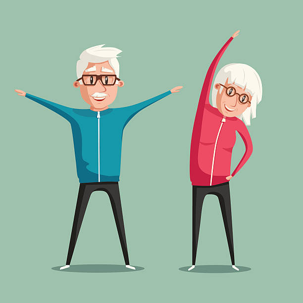 ilustrações de stock, clip art, desenhos animados e ícones de senior people and gymnastics. cartoon vector illustration - old lady