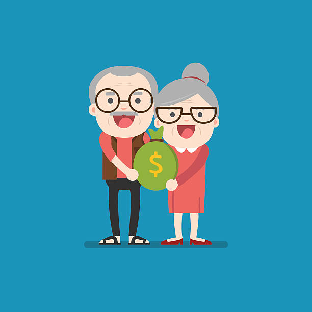 Senior people carrying retirement savings bag - Illustration vectorielle