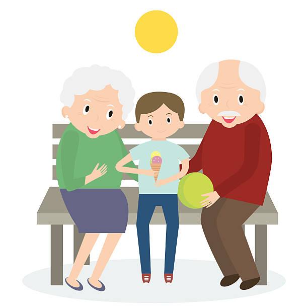 illustrazioni stock, clip art, cartoni animati e icone di tendenza di senior persone di tempo libero con nipote. - nonna e nipote camminare