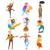 Senior people having fun set, elderly men and women cartoon characters leading active lifestyle, social concept vector Illustration isolated on a white background.