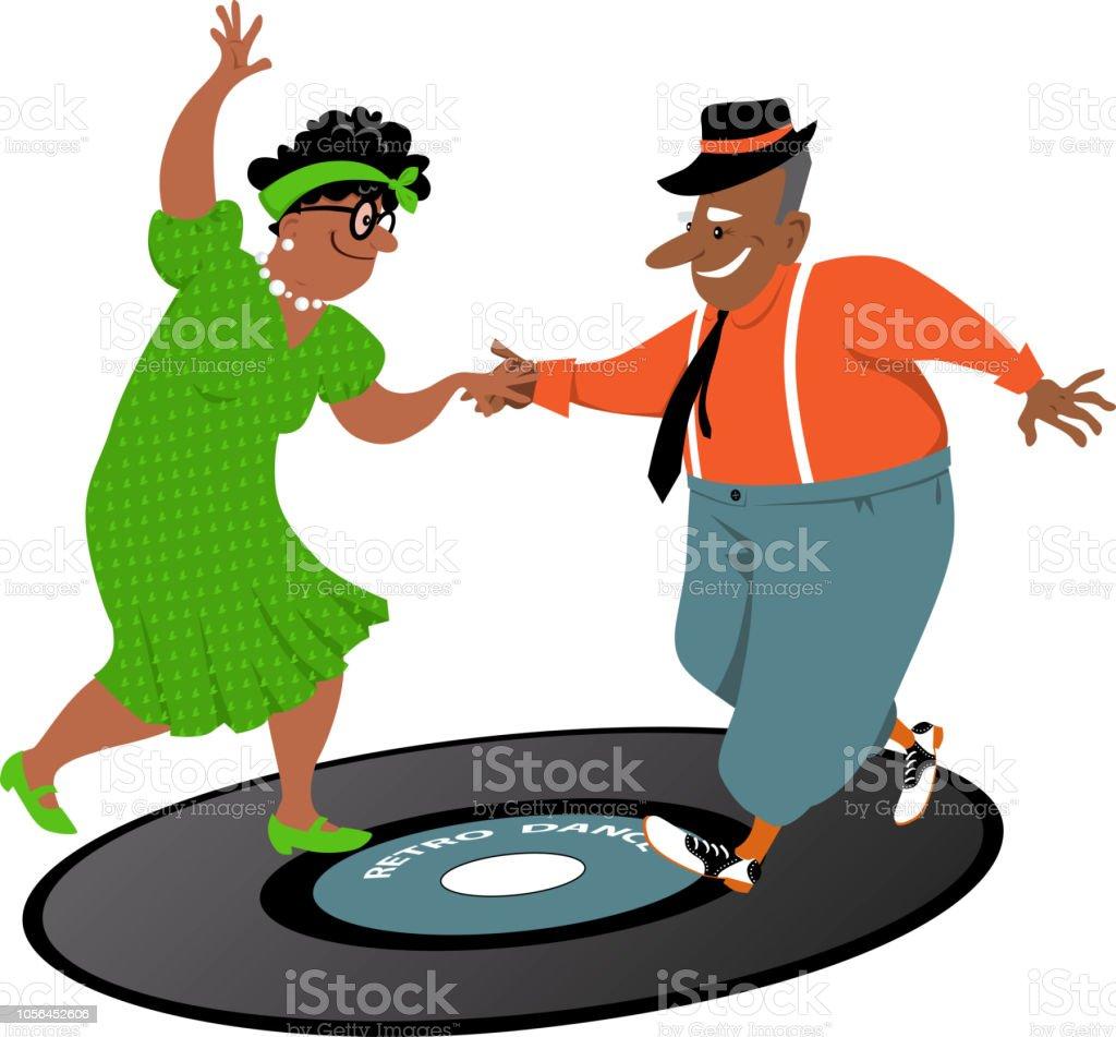 Senior people having fun vector art illustration