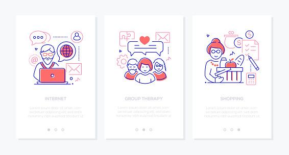 Senior people line design style web banners