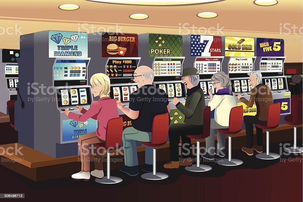 Senior people playing slot machines in the casino vector art illustration