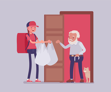 Senior people social support, older care, home food delivery service