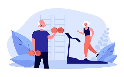 Senior people training in gym