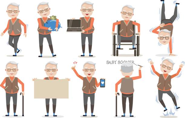 senior poses - old man computer silhouette stock illustrations, clip art, cartoons, & icons