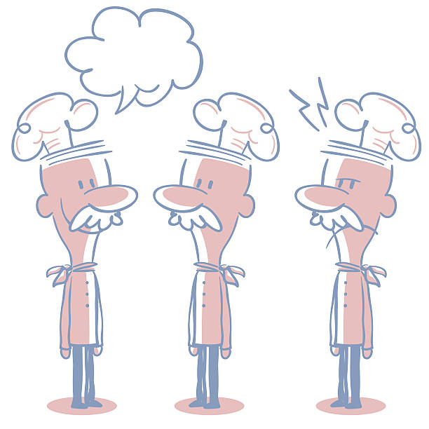 senior short hair chef doodle emotion, talking, smiling, angry, confuse - old man standing drawings stock illustrations, clip art, cartoons, & icons