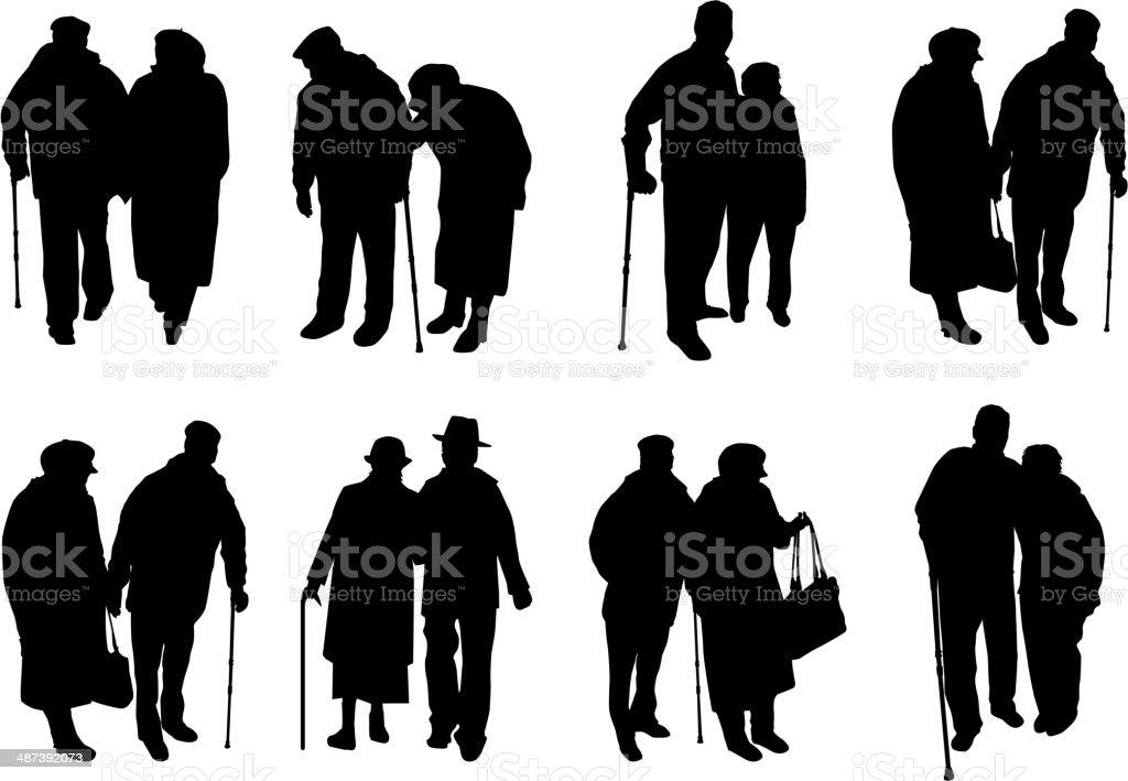 Senior .Silhouettes of people. vector art illustration