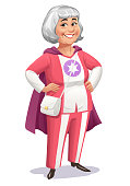 Vector illustration of a senior woman with white hair wearing a superhero costume with cape standing with her hands on her hips on white background. Concept for active seniors, healthy lifestyle, female role models, heroines, leadership and strength.