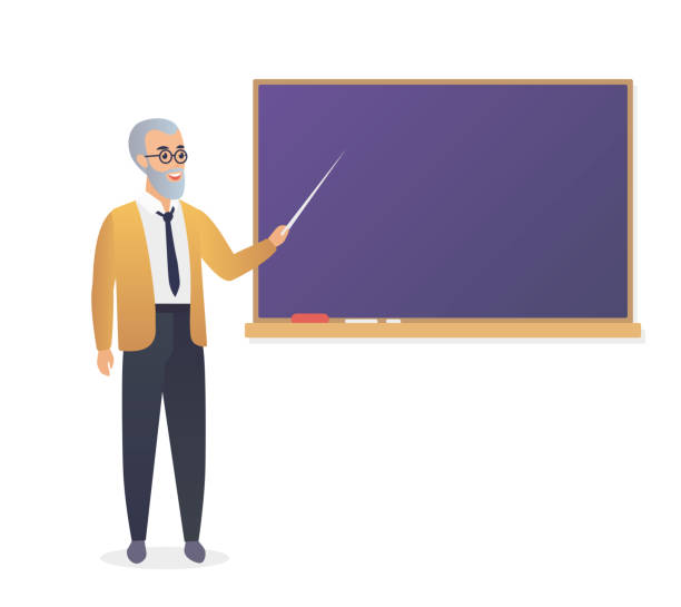 senior teacher, old man professor standing in front of blackboard in classroom at school, college or university. - old man standing drawings stock illustrations, clip art, cartoons, & icons