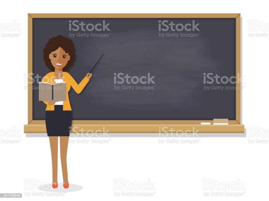 Senior teacher teaching student in classroom vector art illustration
