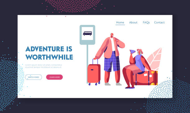 Senior Tourist Characters Adventure in Trip. Aged Man Hold Suitcase, Elderly Woman Sit on Luggage with Fan on Bus Station, Tour Website Landing Page, Web Page. Cartoon Flat Vector Illustration, Banner vector art illustration