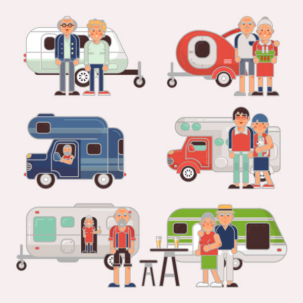 Senior Travel Vector Elderly Family Couple Travelling On Camping Trailer And Retired Character A Vacation