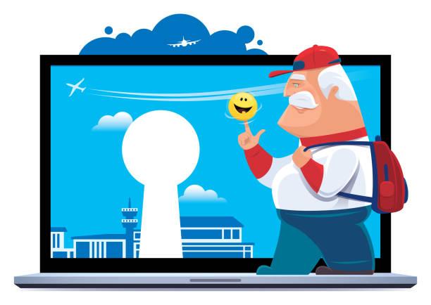 bildbanksillustrationer, clip art samt tecknat material och ikoner med senior traveller med laptop - aktiva pensionärer utflykt