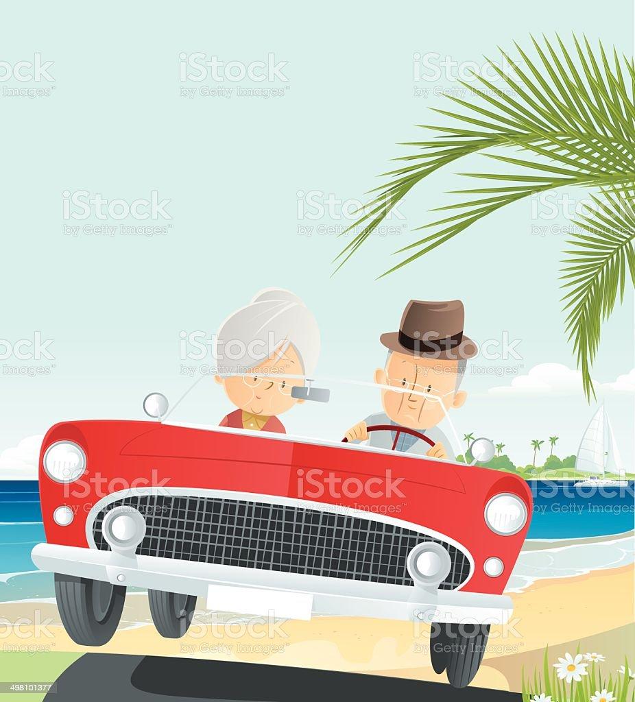 Senior Vacation vector art illustration