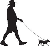 Vector silhouette of a older man walking his dog.
