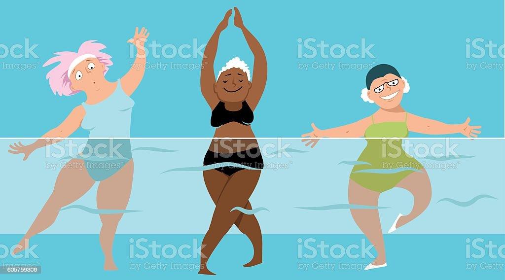 Senior water aerobics vector art illustration
