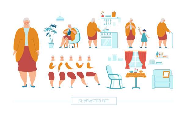 ilustrações de stock, clip art, desenhos animados e ícones de senior woman character constructor flat vector set - obras em casa janelas