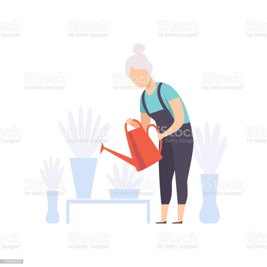 Hauts femme personnage d'arrosage fleurs avec can, personnes âgées, conduisant à un concept de mode de vie actif social vector Illustration sur fond blanc - clipart vectoriel de Adulte libre de droits