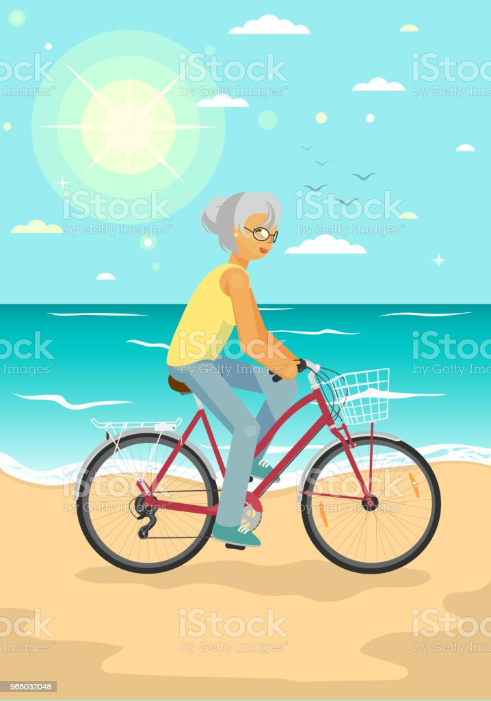 Senior woman cycling on the summer sea beach royalty-free senior woman cycling on the summer sea beach stock vector art & more images of 60-69 years