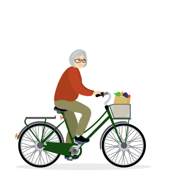 senior woman cyclist,isolated on white background - old man on bike stock illustrations
