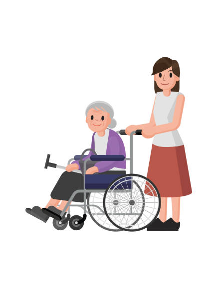 Royalty Free Old Woman In Wheel Chair Clip Art, Vector ...