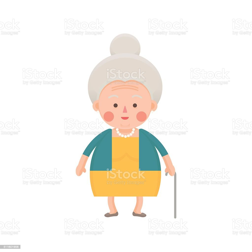 Senior Woman in Yellow Dress with Walking Stick vector art illustration