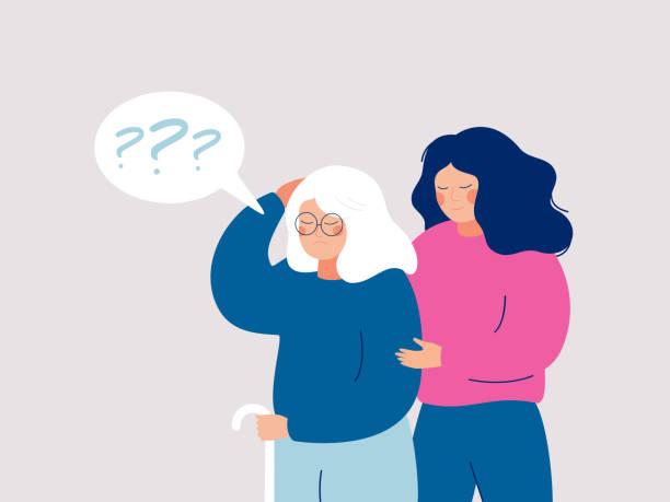 ilustrações de stock, clip art, desenhos animados e ícones de senior woman leans on a cane, and a social worker supports and helps her. - alzheimer