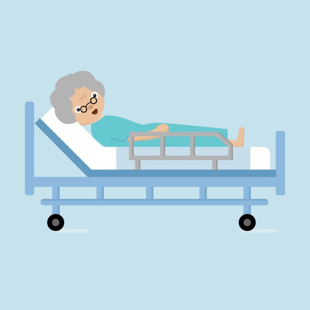 senior woman lying in hospital bed. - old man sick hospital bed silhouette stock illustrations, clip art, cartoons, & icons