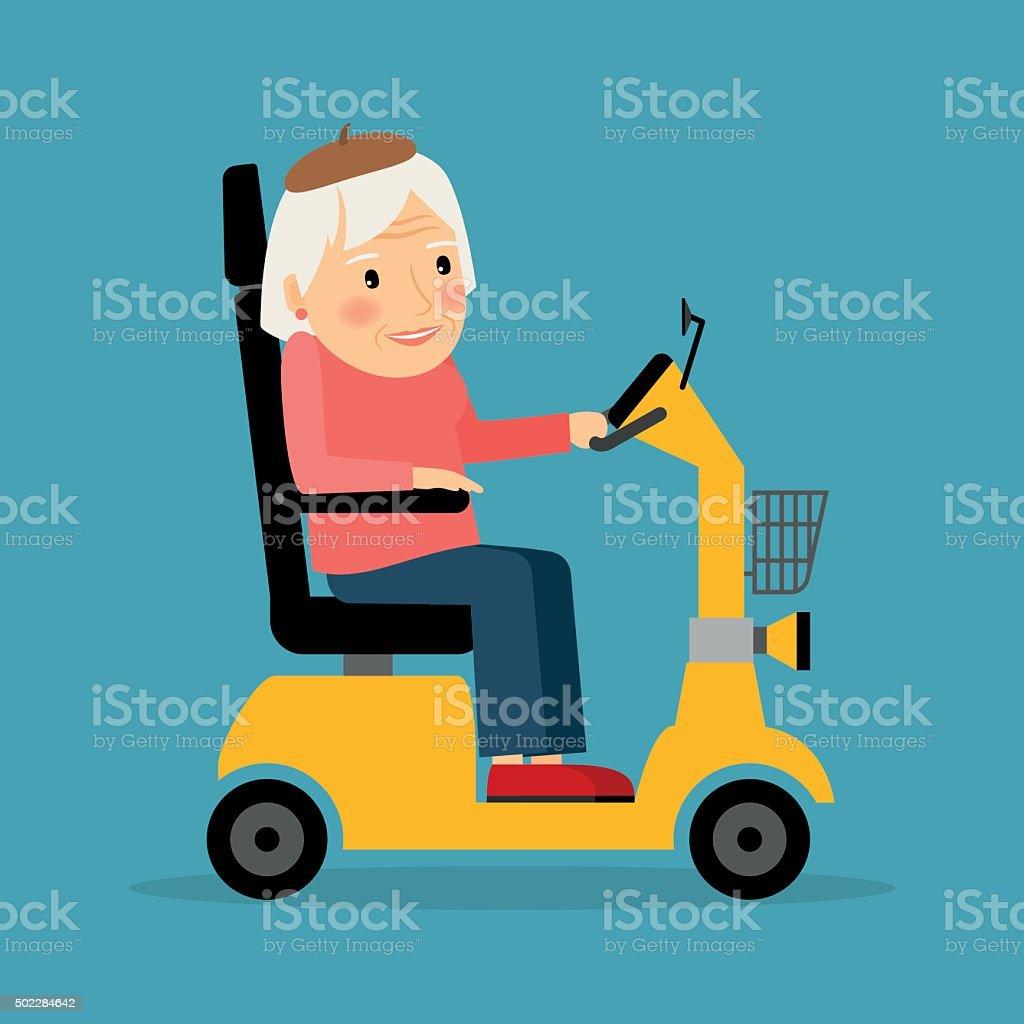 Senior woman on wheel electric scooter vector art illustration