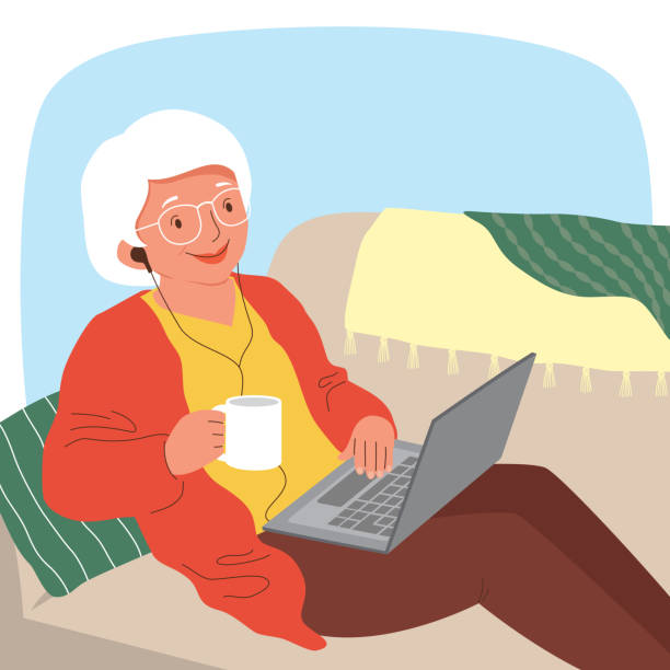 Senior woman relaxing with her laptop vector art illustration