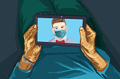 Illustration of a senior woman having an online call with her young grandson who is wearing a face mask