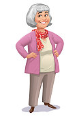 Vector illustration of a happy senior woman with gray hair standing with her hands on her hips against white background. Concept for senior women, active seniors, healthy and active lifestyles.