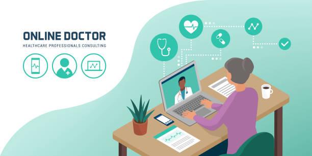 ilustraciones, imágenes clip art, dibujos animados e iconos de stock de mujer mayor hablando con su médico en línea - telehealth