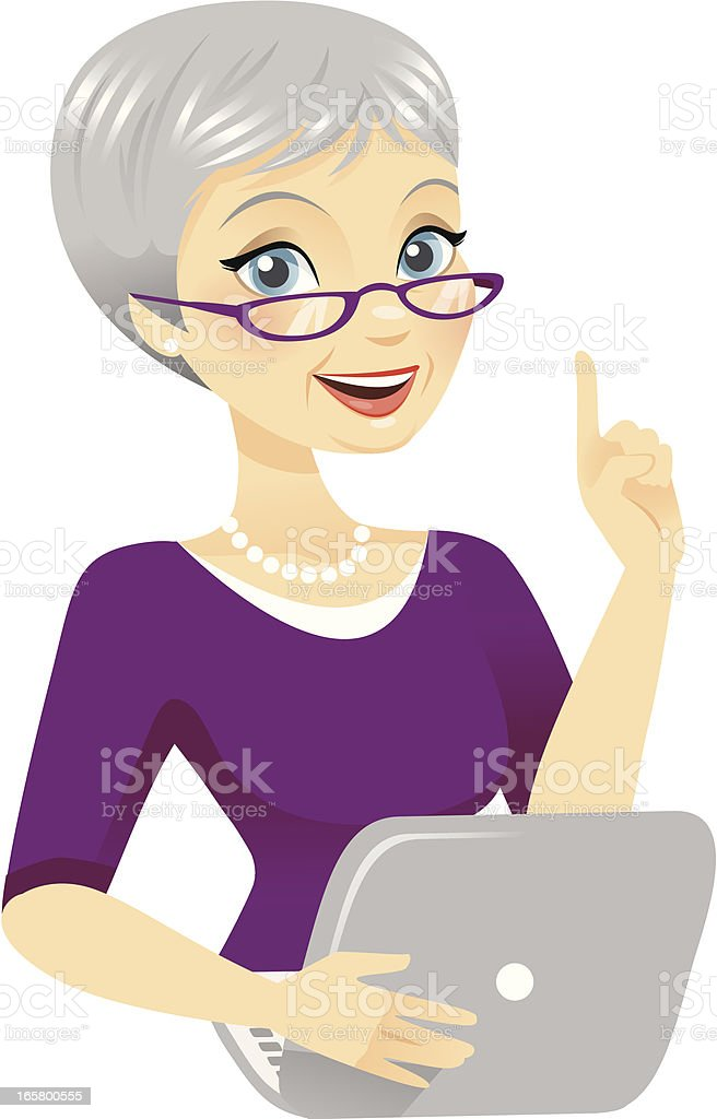 Senior Woman Using Computer royalty-free stock vector art
