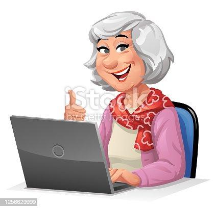 istock Senior Woman Using Laptop 1256629999