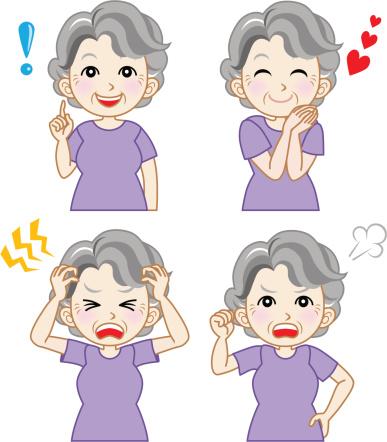 Senior woman  variety of facial expressions set