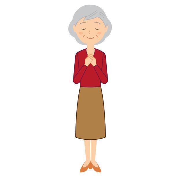 ilustrações de stock, clip art, desenhos animados e ícones de a senior woman with a reassuring expression. - mão no peito